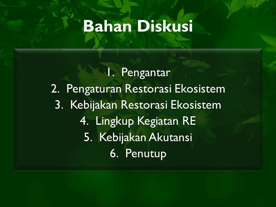 Bahan Diskusi 1.Pengantar 2.Pengaturan Restorasi Ekosistem 3.Kebijakan Restorasi Ekosistem 4.Lingkup Kegiatan RE 5.Kebijakan Akutansi 6.Penutup 1.Peng