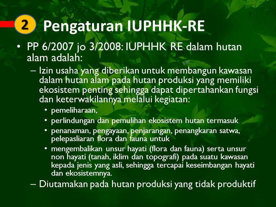 Pengaturan IUPHHK-RE PP 6/2007 jo 3/2008: IUPHHK RE dalam hutan alam adalah: – Izin usaha yang diberikan untuk membangun kawasan dalam hutan alam pada