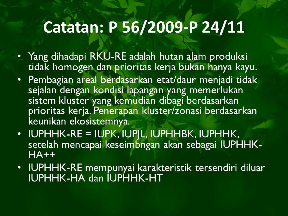 Catatan: P 56/2009-P 24/11 Yang dihadapi RKU-RE adalah hutan alam produksi tidak homogen dan prioritas kerja bukan hanya kayu. Pembagian areal berdasa