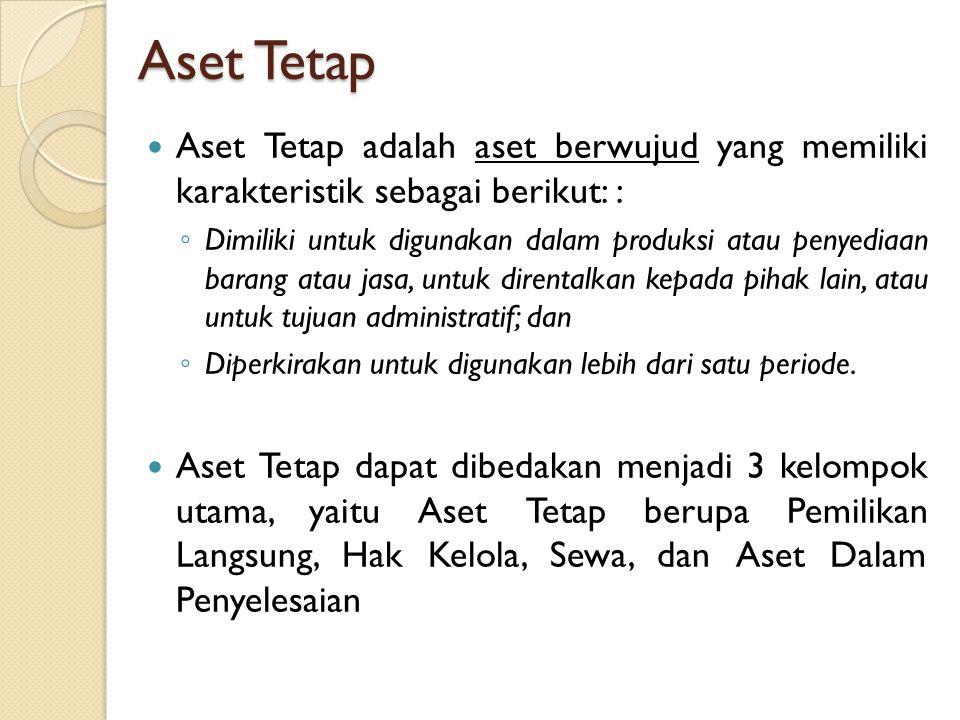 Aset Tetap Aset Tetap adalah aset berwujud yang memiliki karakteristik sebagai berikut: : ◦ Dimiliki untuk digunakan dalam produksi atau penyediaan ba