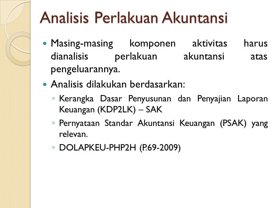Analisis Perlakuan Akuntansi Masing-masing komponen aktivitas harus dianalisis perlakuan akuntansi atas pengeluarannya. Analisis dilakukan berdasarkan