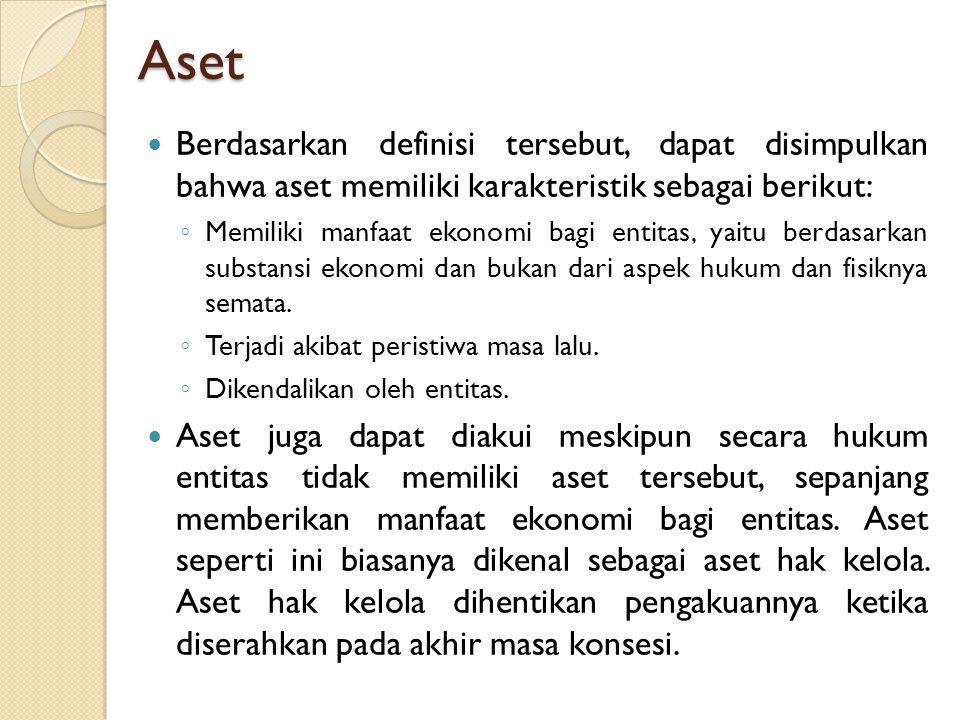 Aset Berdasarkan definisi tersebut, dapat disimpulkan bahwa aset memiliki karakteristik sebagai berikut: ◦ Memiliki manfaat ekonomi bagi entitas, yait
