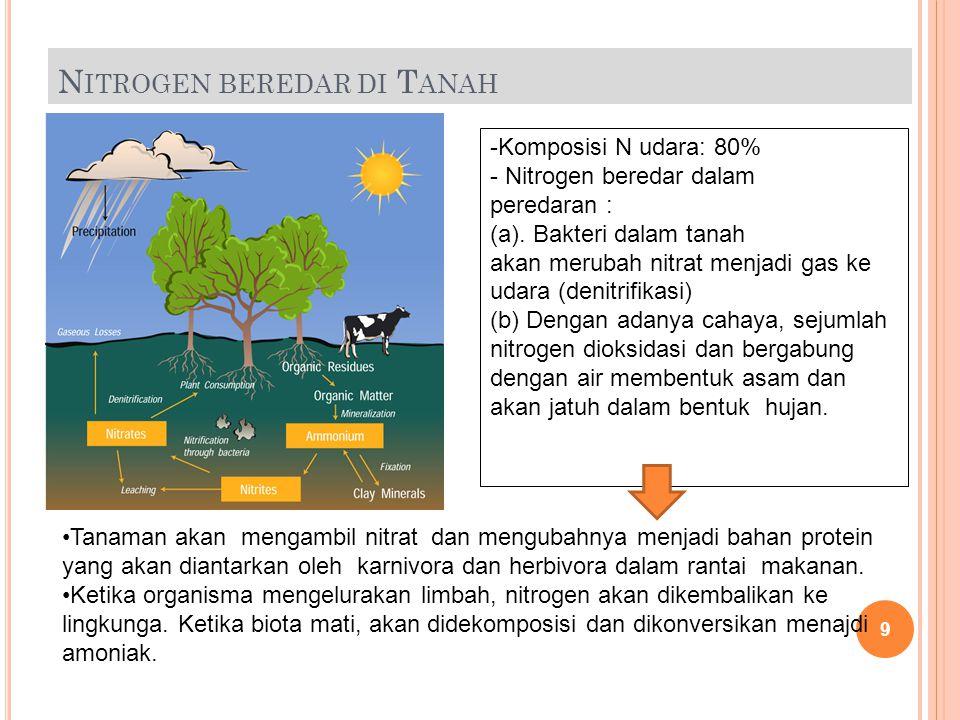 G LOBAL N ITROGEN R ESERVOIRS Nitrogen Reservoir Metric tons nitrogen Actively cycled Atmosphere3.9*10 15 No Ocean  soluble salts Biomass 6.9*10 11 5.2*10 8 Yes Land  organic matter  Biota 1.1*10 11 2.5*10 10 Slow Yes 19