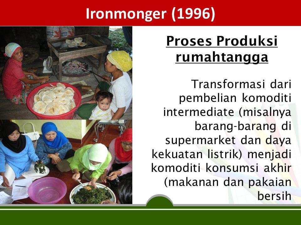 Ironmonger (1996) Transformasi dari pembelian komoditi intermediate (misalnya barang-barang di supermarket dan daya kekuatan listrik) menjadi komoditi