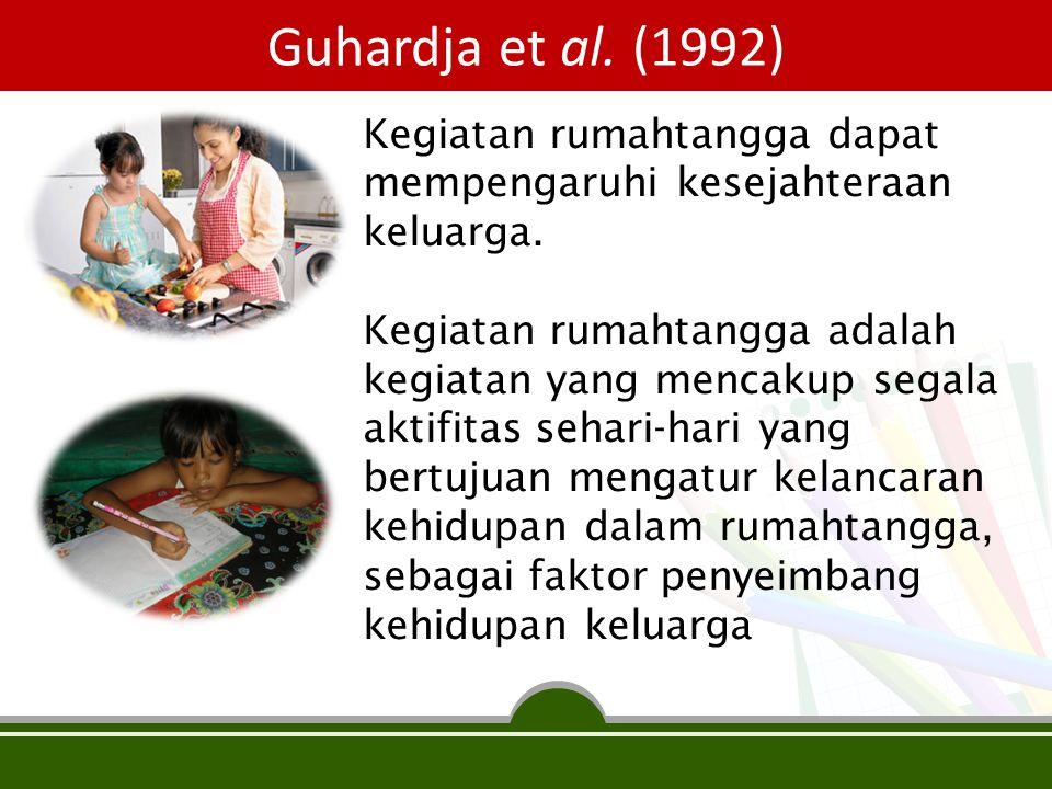 Guhardja et al. (1992) Kegiatan rumahtangga dapat mempengaruhi kesejahteraan keluarga. Kegiatan rumahtangga adalah kegiatan yang mencakup segala aktif