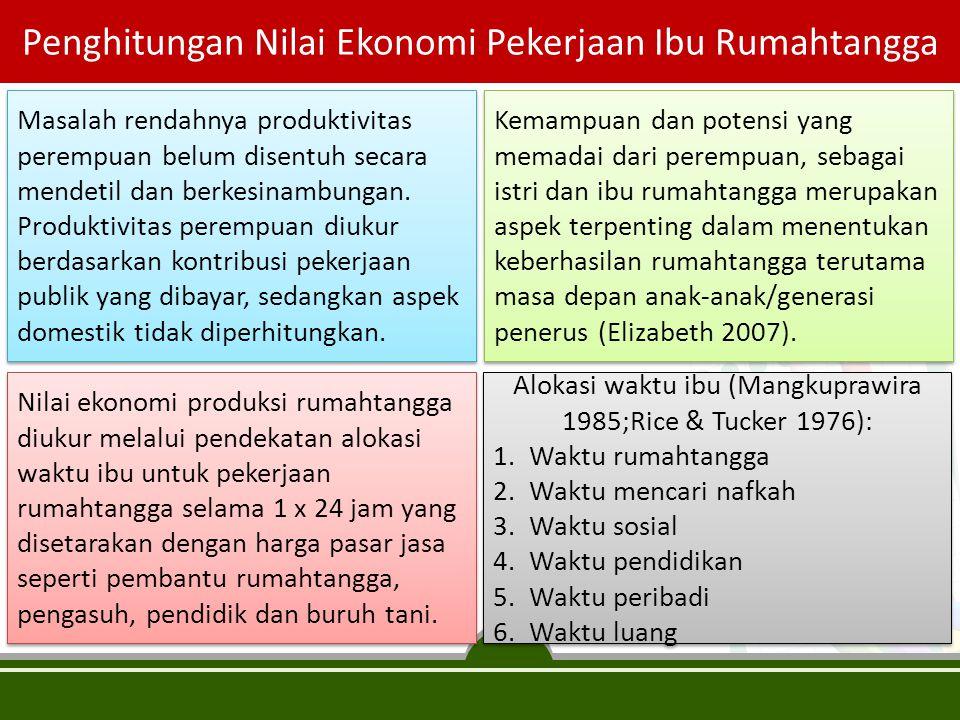 Penghitungan Nilai Ekonomi Pekerjaan Ibu Rumahtangga Masalah rendahnya produktivitas perempuan belum disentuh secara mendetil dan berkesinambungan. Pr