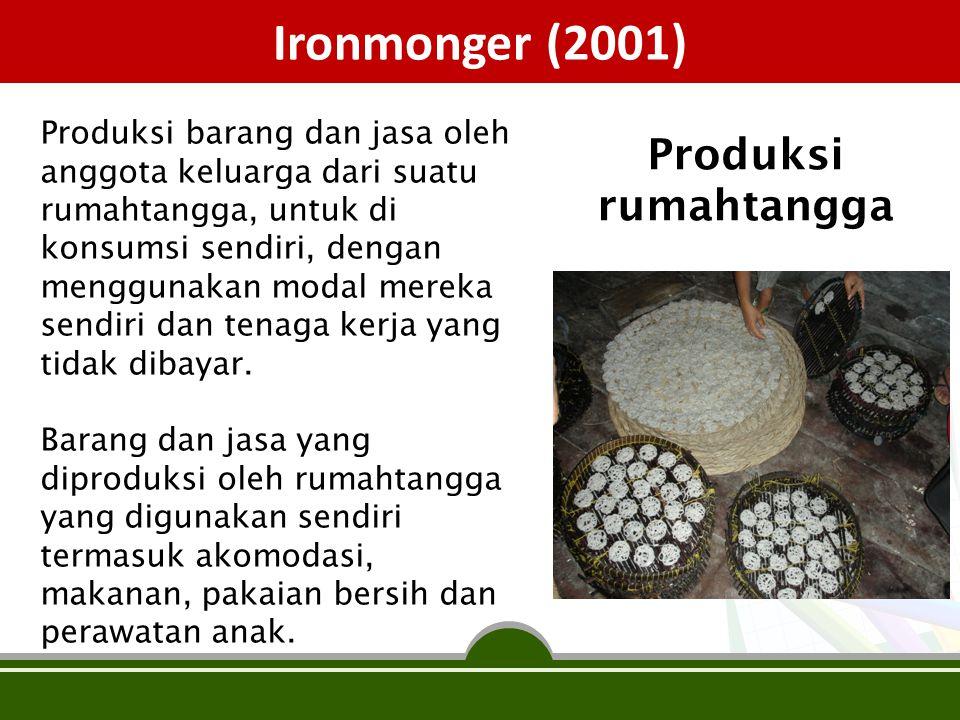 Ironmonger (2001) Produksi barang dan jasa oleh anggota keluarga dari suatu rumahtangga, untuk di konsumsi sendiri, dengan menggunakan modal mereka se