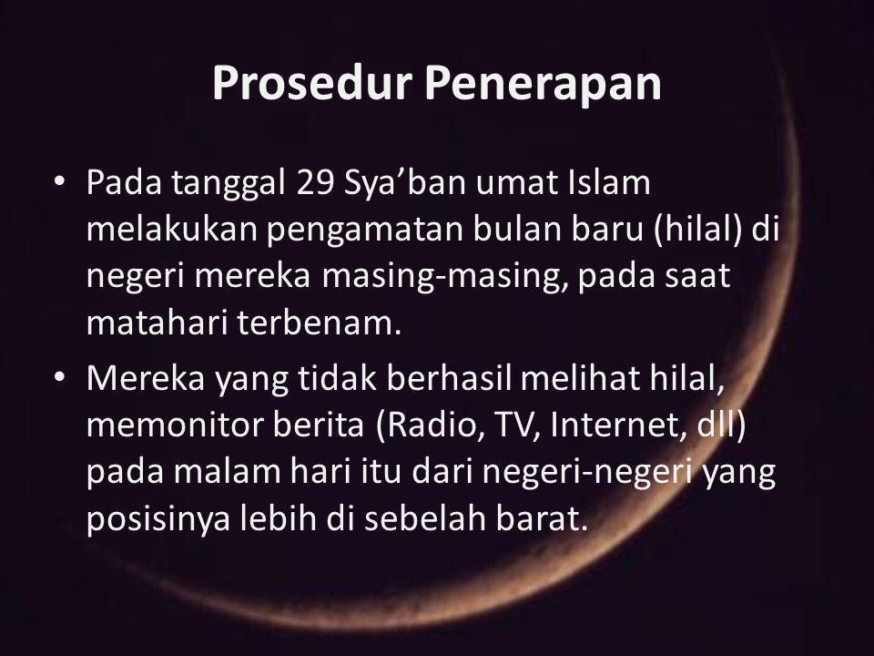 Prosedur Penerapan Pada tanggal 29 Sya'ban umat Islam melakukan pengamatan bulan baru (hilal) di negeri mereka masing-masing, pada saat matahari terbe