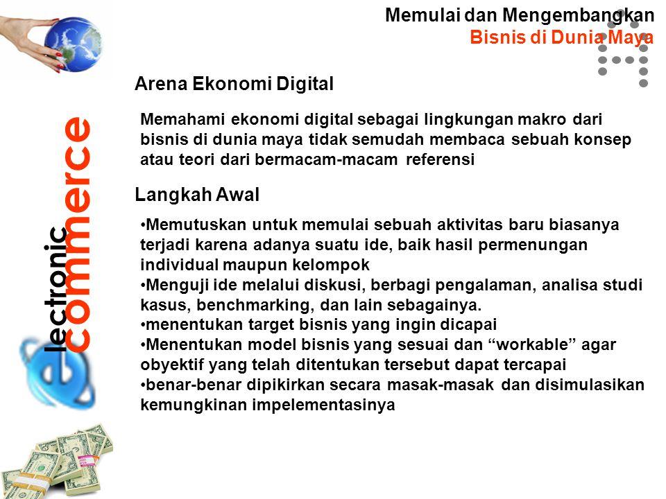 lectronic commerce Memulai dan Mengembangkan Bisnis di Dunia Maya Arena Ekonomi Digital Memahami ekonomi digital sebagai lingkungan makro dari bisnis