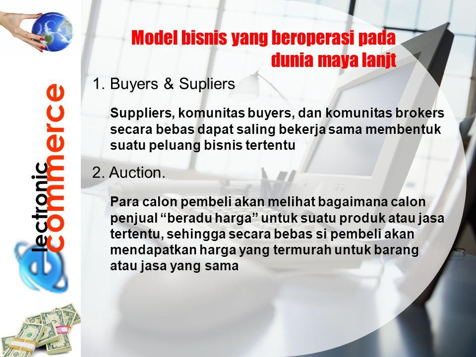lectronic commerce Model bisnis yang beroperasi pada dunia maya lanjt 1.Buyers & Supliers Suppliers, komunitas buyers, dan komunitas brokers secara be