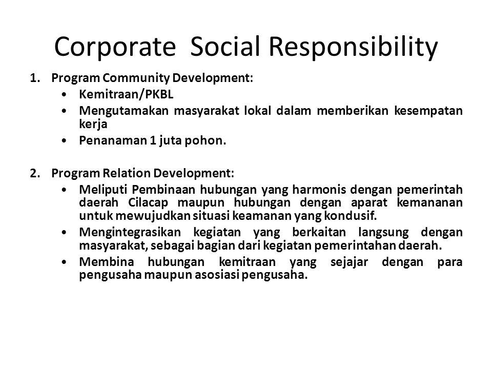 Corporate Social Responsibility 1.Program Community Development: Kemitraan/PKBL Mengutamakan masyarakat lokal dalam memberikan kesempatan kerja Penana