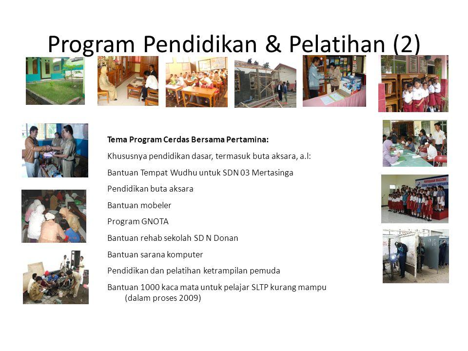 Program Pendidikan & Pelatihan (2) Tema Program Cerdas Bersama Pertamina: Khususnya pendidikan dasar, termasuk buta aksara, a.l: Bantuan Tempat Wudhu