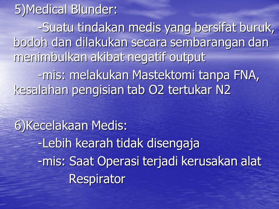 5)Medical Blunder: 5)Medical Blunder: -Suatu tindakan medis yang bersifat buruk, bodoh dan dilakukan secara sembarangan dan menimbulkan akibat negatif