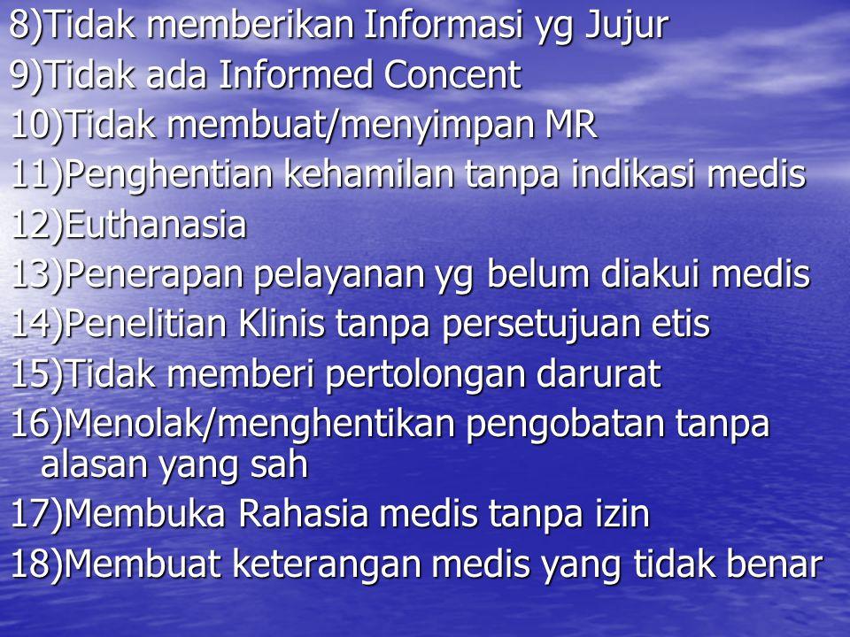 8)Tidak memberikan Informasi yg Jujur 9)Tidak ada Informed Concent 10)Tidak membuat/menyimpan MR 11)Penghentian kehamilan tanpa indikasi medis 12)Euth