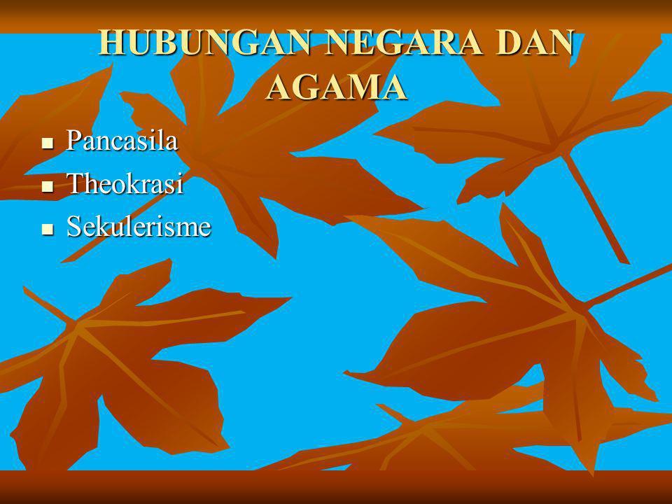 HUBUNGAN NEGARA DAN AGAMA Pancasila Pancasila Theokrasi Theokrasi Sekulerisme Sekulerisme