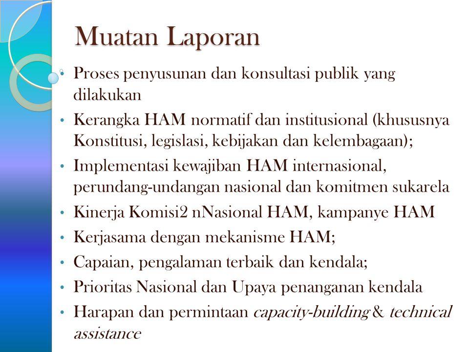 Muatan Laporan Proses penyusunan dan konsultasi publik yang dilakukan Kerangka HAM normatif dan institusional (khususnya Konstitusi, legislasi, kebija