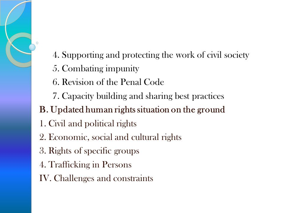 4. Supporting and protecting the work of civil society 5. Combating impunity 6. Revision of the Penal Code 7. Capacity building and sharing best pract