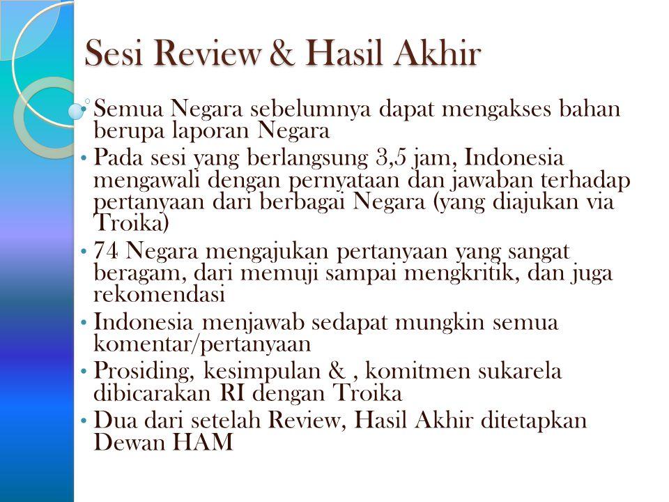 Sesi Review & Hasil Akhir Semua Negara sebelumnya dapat mengakses bahan berupa laporan Negara Pada sesi yang berlangsung 3,5 jam, Indonesia mengawali