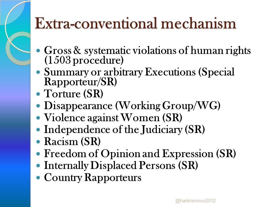 Special Procedures yang sudah mengunjungi Indonesia Special Rapporteur for Torture Special Rapporteur for Human Rights Defenders Special Rapporteur for Migrants @harkrisnowo2012