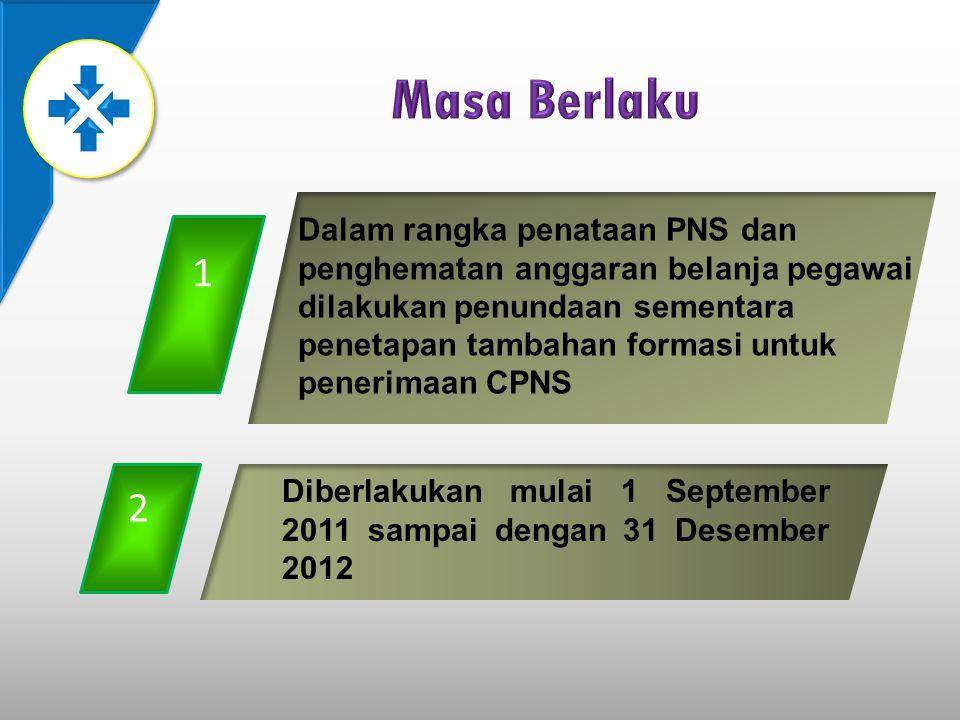 1 Dalam rangka penataan PNS dan penghematan anggaran belanja pegawai dilakukan penundaan sementara penetapan tambahan formasi untuk penerimaan CPNS 2