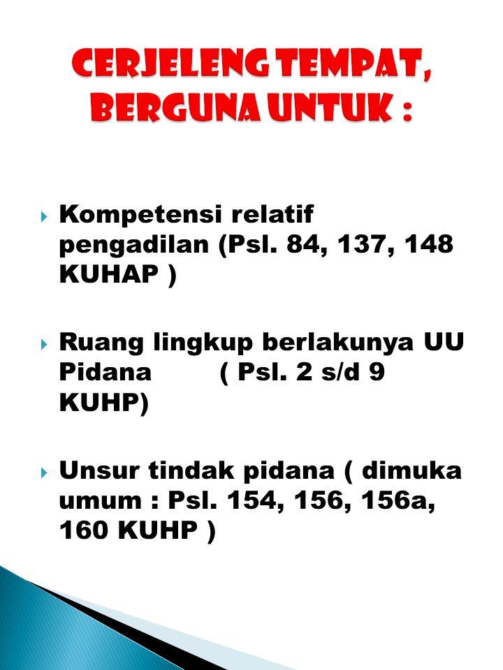  Kompetensi relatif pengadilan (Psl. 84, 137, 148 KUHAP )  Ruang lingkup berlakunya UU Pidana ( Psl. 2 s/d 9 KUHP)  Unsur tindak pidana ( dimuka um
