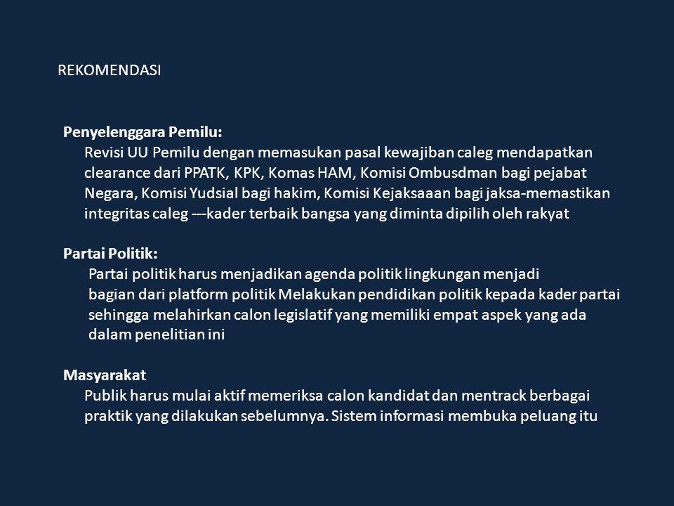 REKOMENDASI Penyelenggara Pemilu: Revisi UU Pemilu dengan memasukan pasal kewajiban caleg mendapatkan clearance dari PPATK, KPK, Komas HAM, Komisi Omb