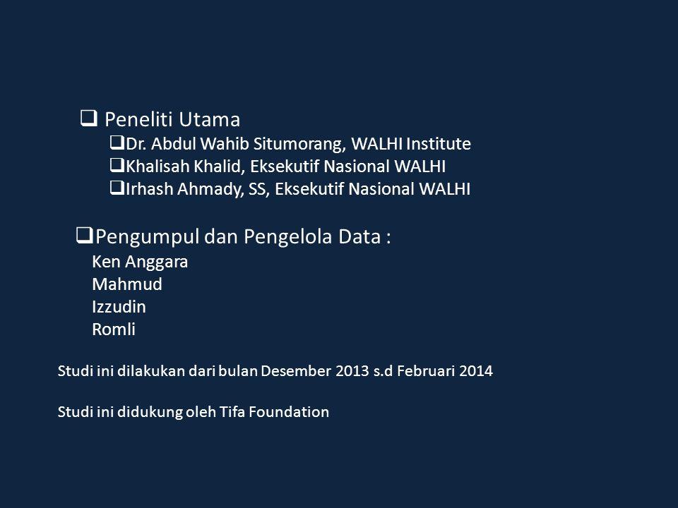  Peneliti Utama  Dr. Abdul Wahib Situmorang, WALHI Institute  Khalisah Khalid, Eksekutif Nasional WALHI  Irhash Ahmady, SS, Eksekutif Nasional WAL