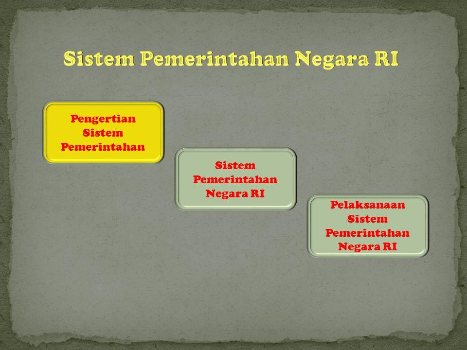 Pengertian Sistem Pemerintahan Sistem Pemerintahan Negara RI Pelaksanaan Sistem Pemerintahan Negara RI