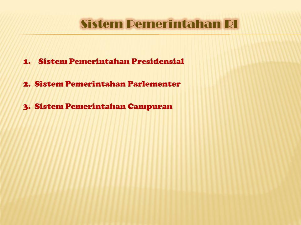 1.Sistem Pemerintahan Presidensial 2.Sistem Pemerintahan Parlementer 3.Sistem Pemerintahan Campuran