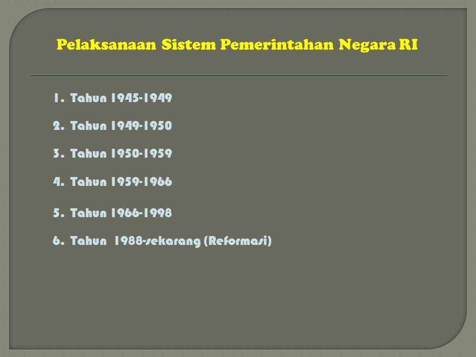 Pelaksanaan Sistem Pemerintahan Negara RI 1.Tahun 1945-1949 2.Tahun 1949-1950 3.Tahun 1950-1959 4.Tahun 1959-1966 5.Tahun 1966-1998 6.Tahun 1988-sekar