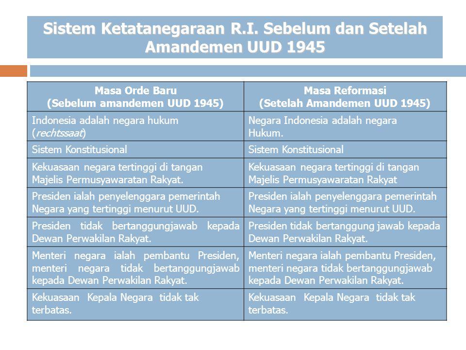 Sistem Ketatanegaraan R.I. Sebelum dan Setelah Amandemen UUD 1945 Masa Orde Baru (Sebelum amandemen UUD 1945) Masa Reformasi (Setelah Amandemen UUD 19