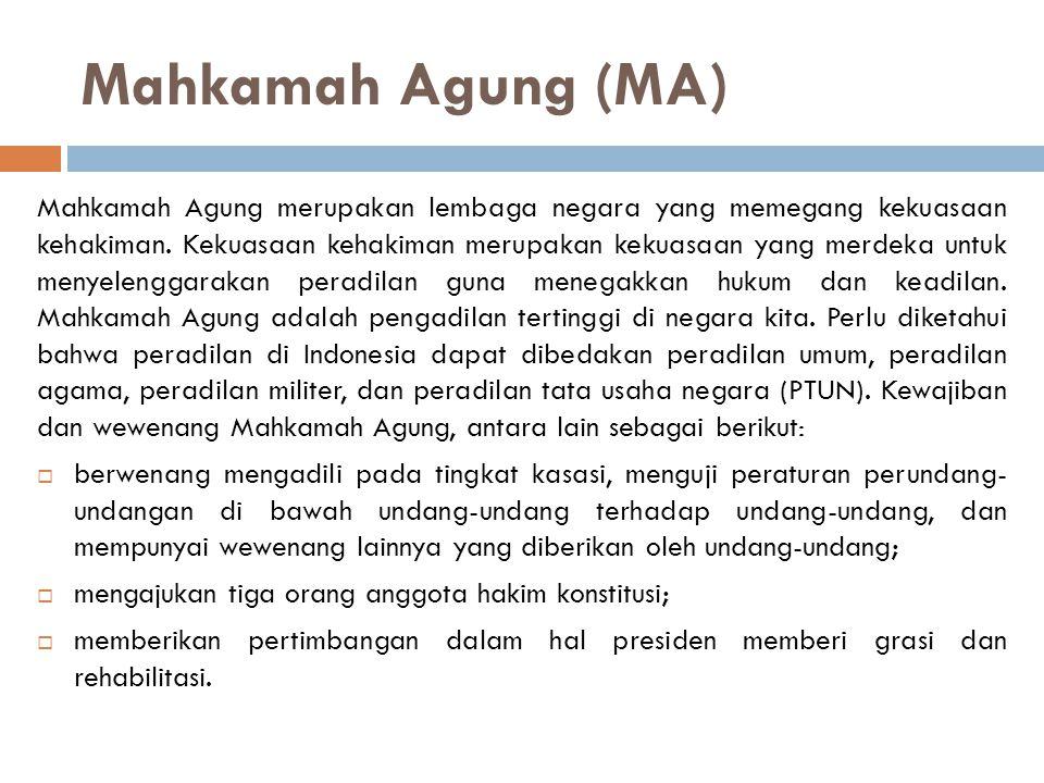 Mahkamah Agung (MA) Mahkamah Agung merupakan lembaga negara yang memegang kekuasaan kehakiman.