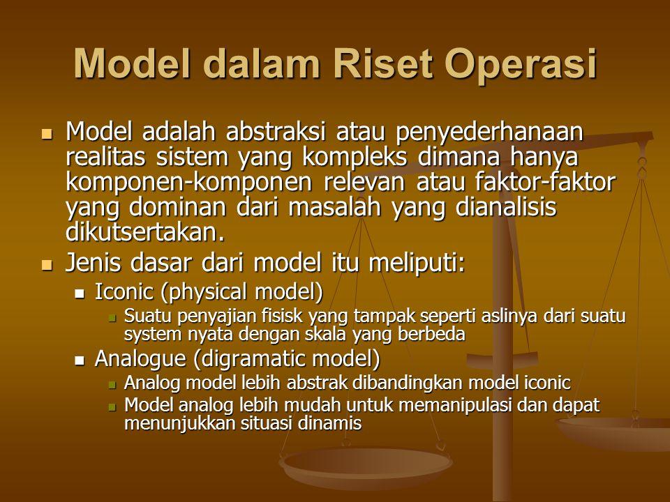 Model dalam Riset Operasi Model adalah abstraksi atau penyederhanaan realitas sistem yang kompleks dimana hanya komponen-komponen relevan atau faktor-