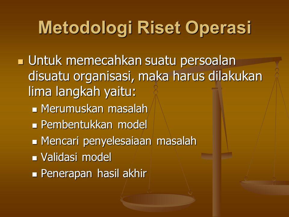 Metodologi Riset Operasi Untuk memecahkan suatu persoalan disuatu organisasi, maka harus dilakukan lima langkah yaitu: Untuk memecahkan suatu persoala