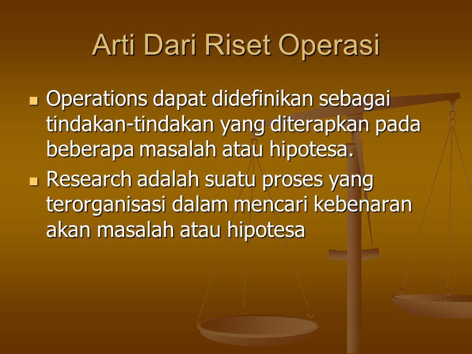 Arti Dari Riset Operasi Operations dapat didefinikan sebagai tindakan-tindakan yang diterapkan pada beberapa masalah atau hipotesa. Operations dapat d