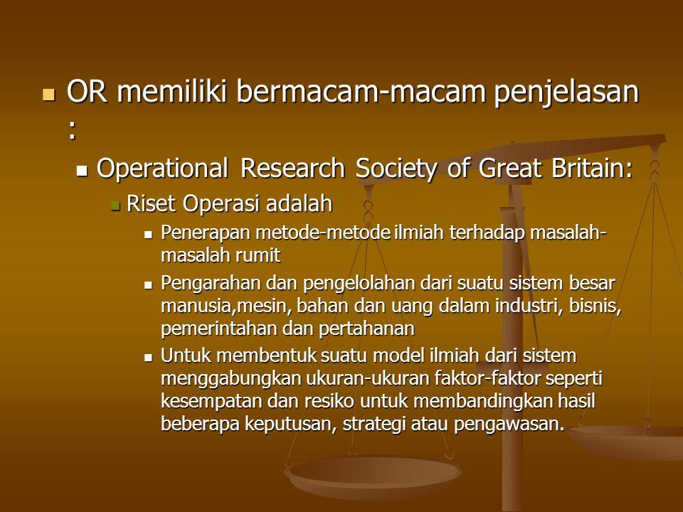 Operational Research Society of America Operational Research Society of America Riset operasi : Riset operasi : Berkaitan dengan menentukan pilihan secara ilmiah bagaimana merancang dan menjelaskan sistem manusia-mesin secara terbaik.