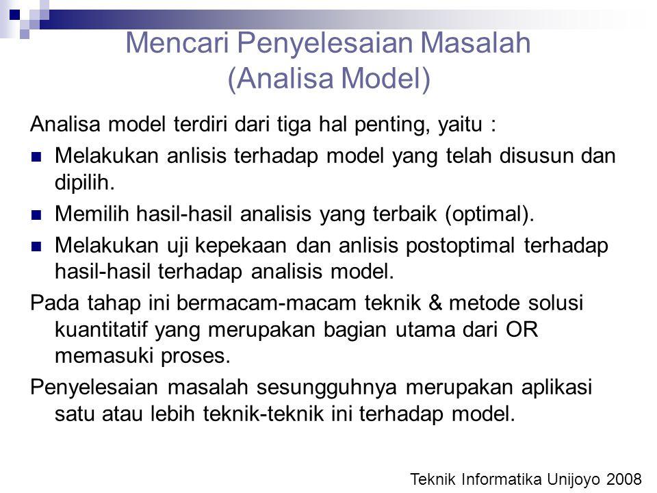 Mencari Penyelesaian Masalah (Analisa Model) Analisa model terdiri dari tiga hal penting, yaitu : Melakukan anlisis terhadap model yang telah disusun