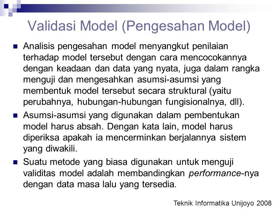 Validasi Model (Pengesahan Model) Analisis pengesahan model menyangkut penilaian terhadap model tersebut dengan cara mencocokannya dengan keadaan dan