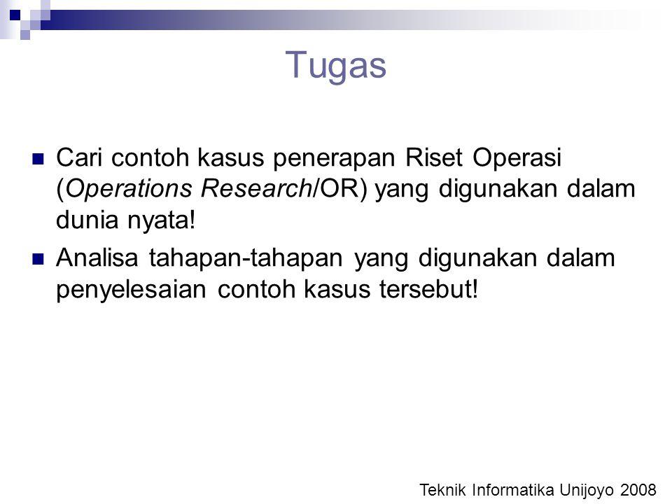 Tugas Cari contoh kasus penerapan Riset Operasi (Operations Research/OR) yang digunakan dalam dunia nyata! Analisa tahapan-tahapan yang digunakan dala