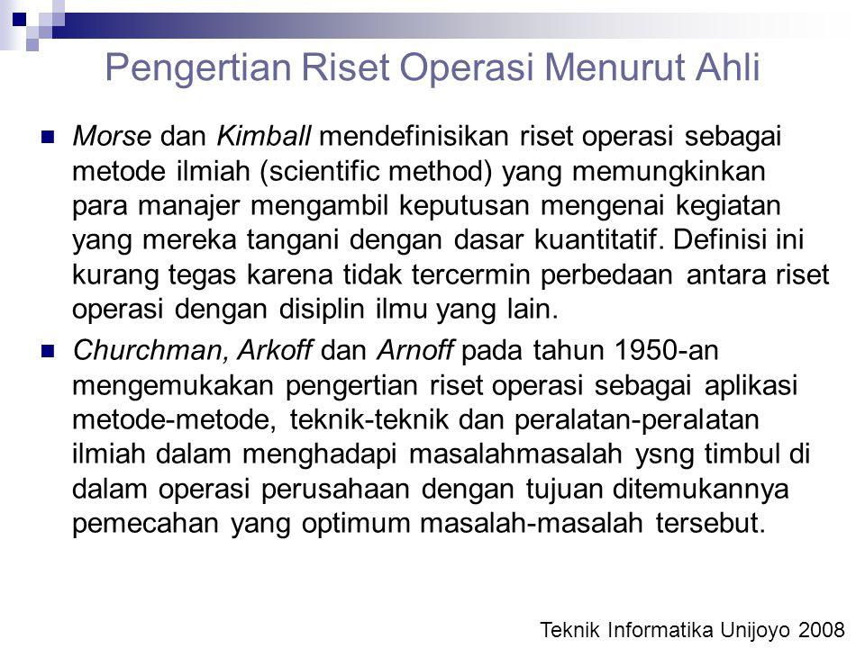 Pengertian Riset Operasi Menurut Ahli Morse dan Kimball mendefinisikan riset operasi sebagai metode ilmiah (scientific method) yang memungkinkan para