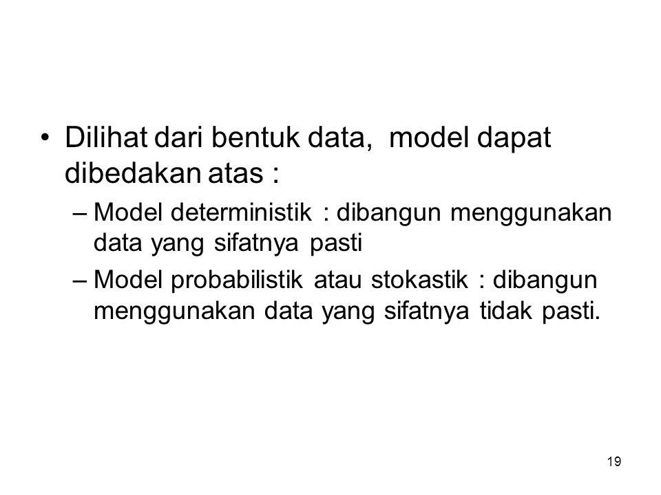 19 Dilihat dari bentuk data, model dapat dibedakan atas : –Model deterministik : dibangun menggunakan data yang sifatnya pasti –Model probabilistik at