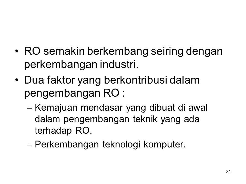 21 RO semakin berkembang seiring dengan perkembangan industri. Dua faktor yang berkontribusi dalam pengembangan RO : –Kemajuan mendasar yang dibuat di