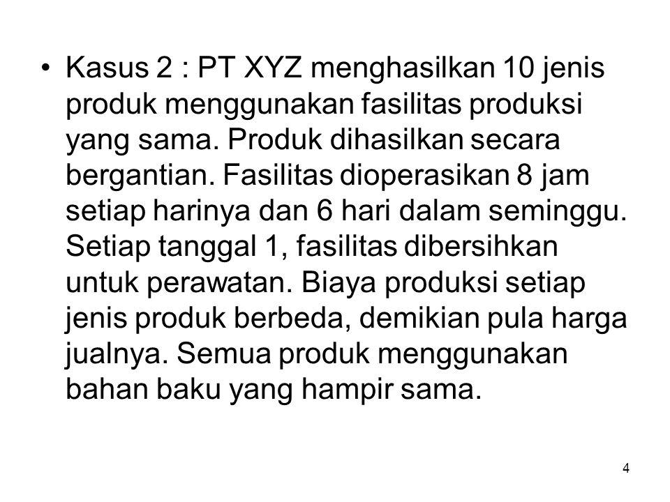 4 Kasus 2 : PT XYZ menghasilkan 10 jenis produk menggunakan fasilitas produksi yang sama. Produk dihasilkan secara bergantian. Fasilitas dioperasikan