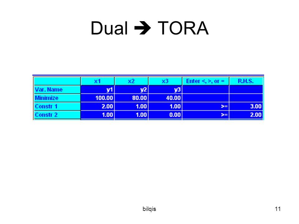 bilqis11 Dual  TORA