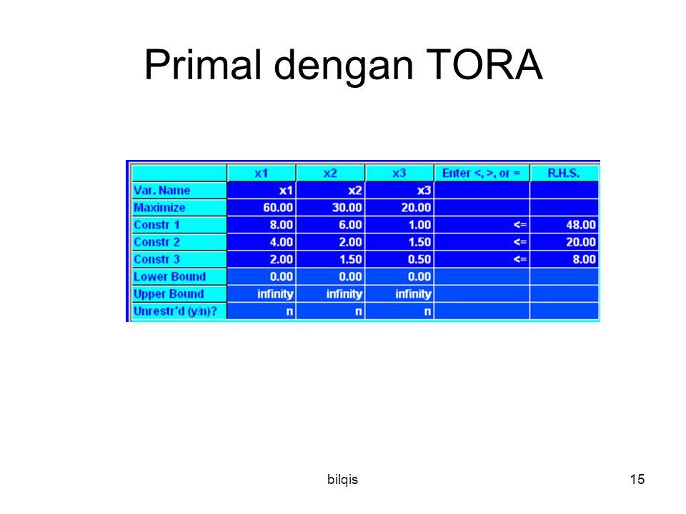 bilqis15 Primal dengan TORA