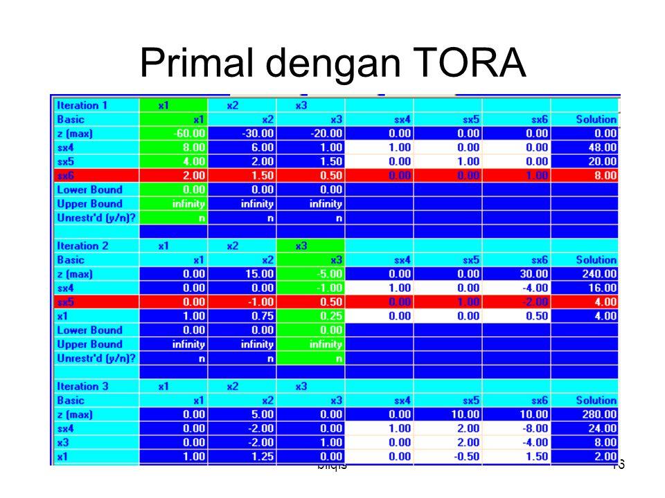 bilqis16 Primal dengan TORA