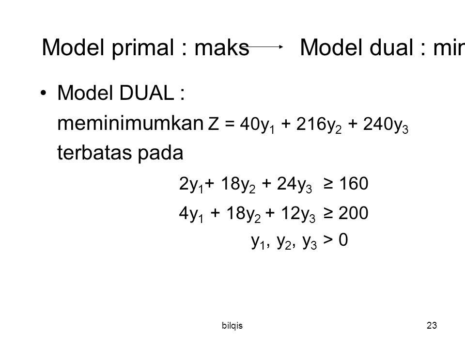 bilqis23 Model primal : maks Model dual : min Model DUAL : meminimumkan Z = 40y 1 + 216y 2 + 240y 3 terbatas pada 2y 1 + 18y 2 + 24y 3 ≥ 160 4y 1 + 18