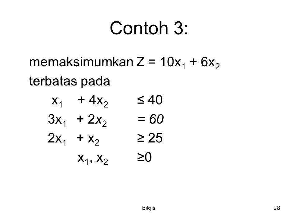 bilqis28 Contoh 3: memaksimumkan Z = 10x 1 + 6x 2 terbatas pada x 1 + 4x 2 ≤ 40 3x 1 + 2x 2 = 60 2x 1 + x 2 ≥ 25 x 1, x 2 ≥0
