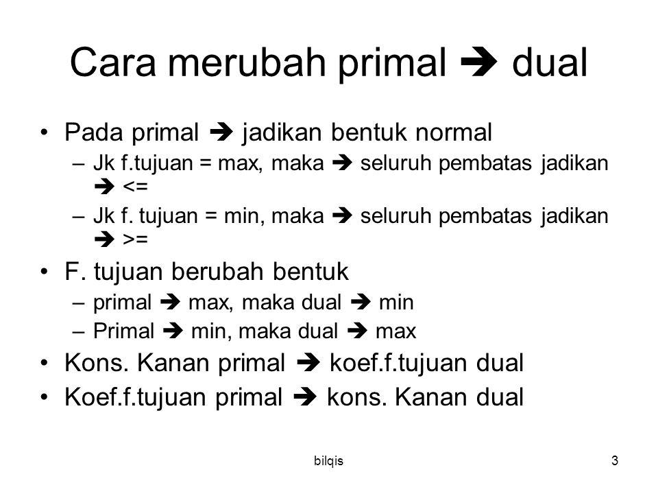bilqis3 Cara merubah primal  dual Pada primal  jadikan bentuk normal –Jk f.tujuan = max, maka  seluruh pembatas jadikan  <= –Jk f. tujuan = min, m