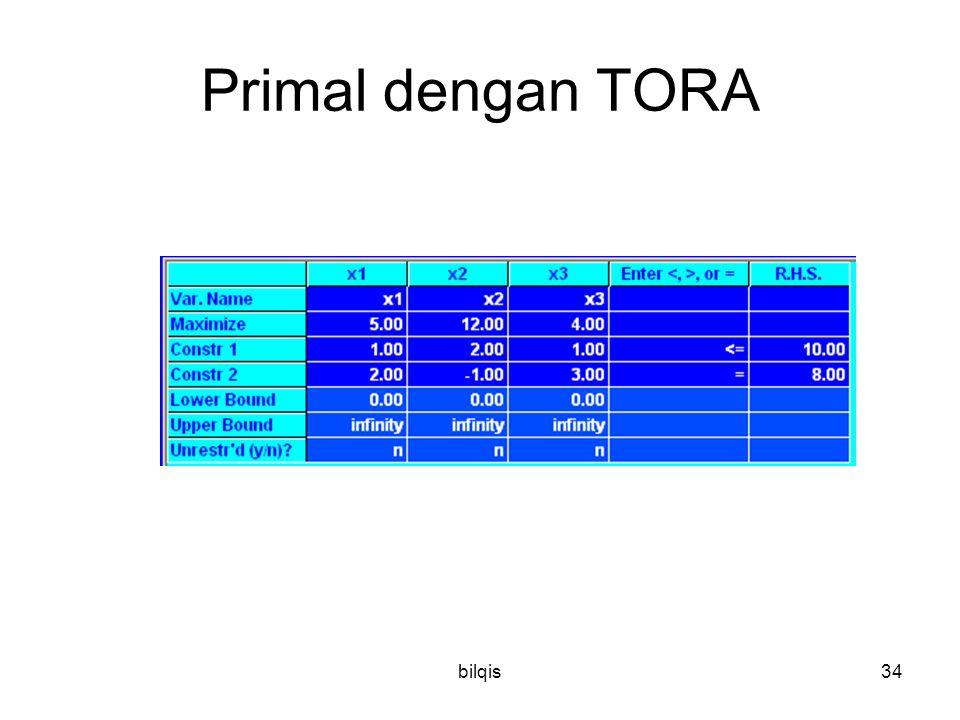 bilqis34 Primal dengan TORA